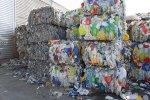 Bales of plastic ready for recycling